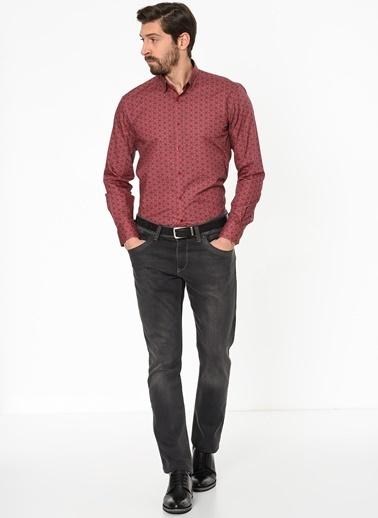 Daffari Desenli Uzun Kollu Gömlek Kırmızı